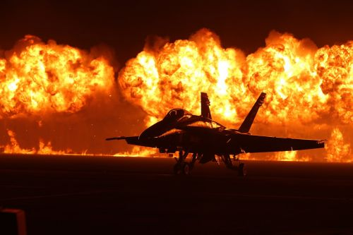 air show flames pyrotechnics airplane