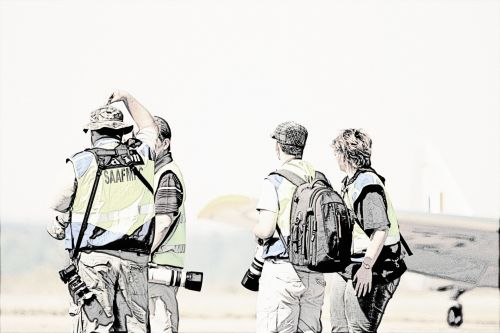 Air Show Photographers Line Drawing