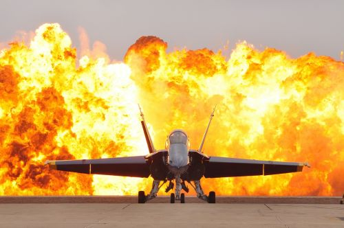 air show pyrotechnics military jet f-18