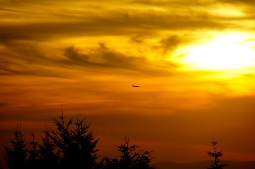 aircraft sunset twilight