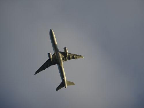 aircraft airliner from the bottom