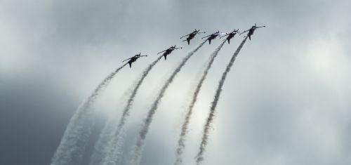 aircraft perform trick air show