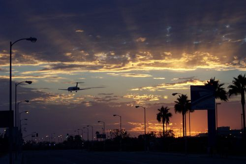 aircraft sunset los angeles