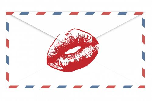 Airmail Envelope Red Lips Kiss