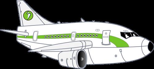 airplane white green