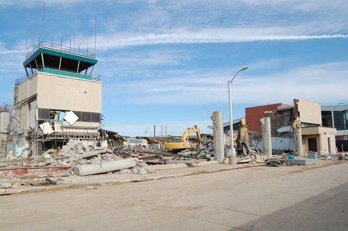 airport  demolition  rubble