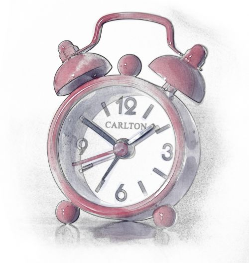 alarm clock watercolor painting