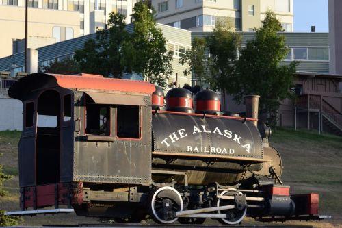 alaska, geležinkelis, traukinys, davenport, metalas, mediena, juoda, raudona, rodyti, mašina, variklis, tvirtinimas, alaska geležinkelio traukinio variklis