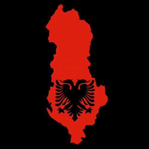 albania map flag