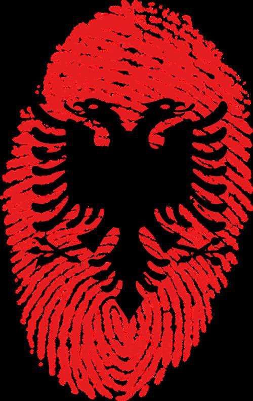 albania flag fingerprint