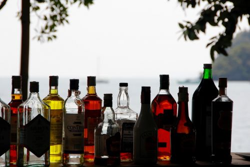 alcohol bottles counter
