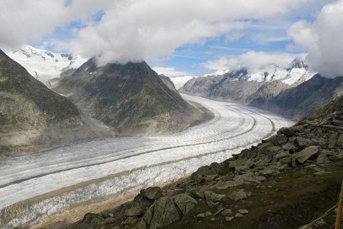 aletsch glacier snow mountains