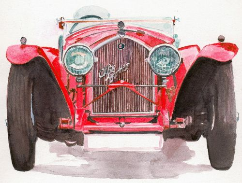 alfa romeo watercolour car