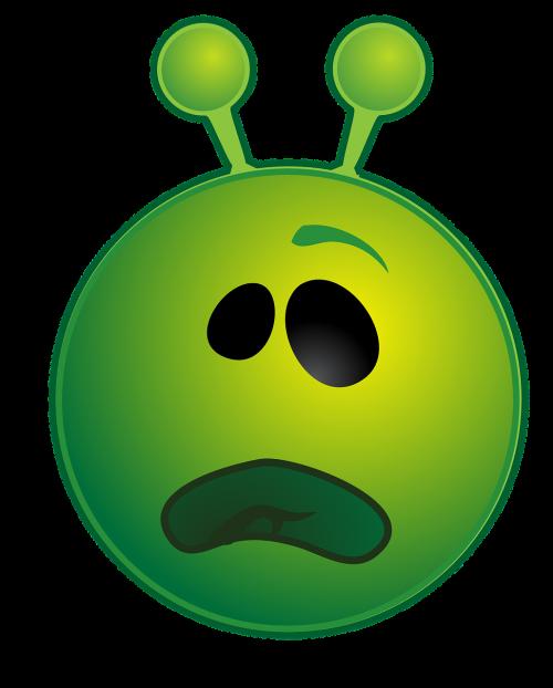 alien green unhappy