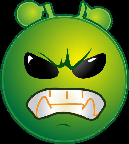 alien furious emoticon