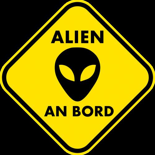 alien warnschild traffic