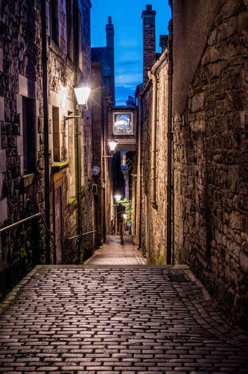 alley cobblestones old town