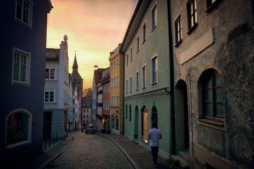 alėja,vakaras,siauras takelis,Senamiestis,namai,kelias,twilight,romantiškas,tylus,kalnų kelias,Landsbergas
