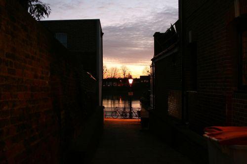 alleyway sunset dark