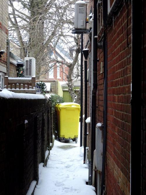 Alleyway In Winter Snow