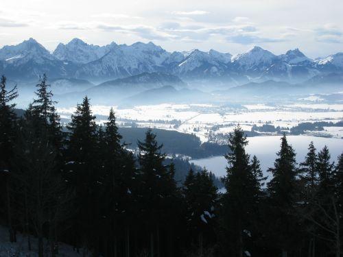 Allgäu,Buching,east allgäu hauptkamm,žiema,sniegas,panorama,vaizdas
