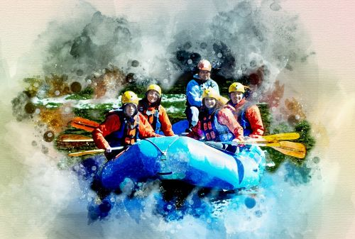 alloy boat rafting on the river