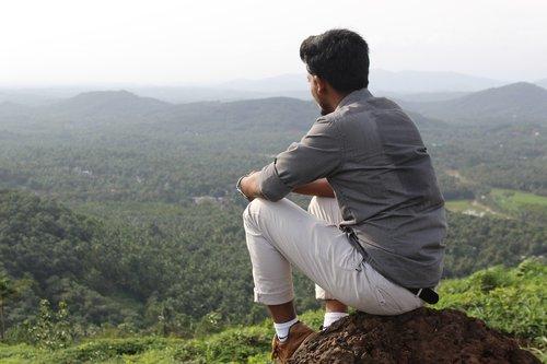 alone  boy  hill top