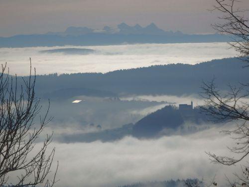 alpenblick panorama fog