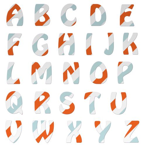 Alphabet Letters Colorful Stripes
