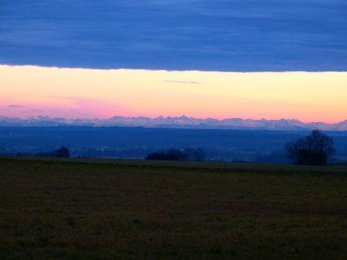 alpine mountains evening sky