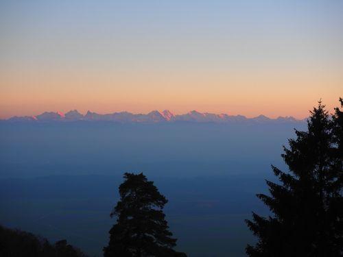 alpine alpine panorama alpenglühen