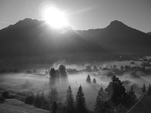 alpine mountains fog