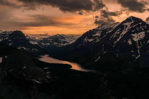 Alpių, vaizdas, kalnai, ežeras, diapazonas, sniegas, padengtas, kraštovaizdis, gamta, lauke, peizažas, vakaras, saulėlydis, dusk, twilight, Rokas, piko, panorama, slėnis, vaizdingas, Europa, didingas, dykuma