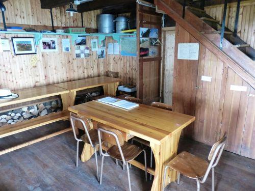 alpine hut interior space