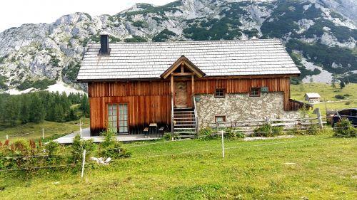 alpine hut hut mountains