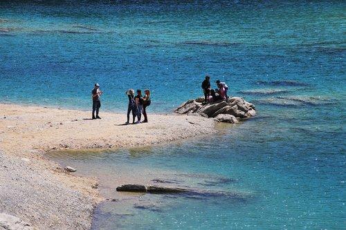 alpine lake  blue  flims