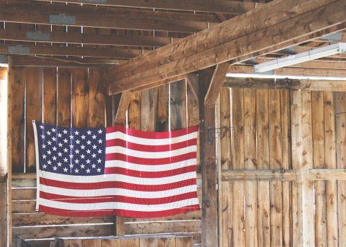 american flag hanging barn