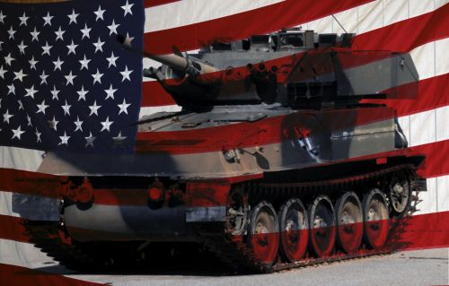 American Flag And Army Tank #2