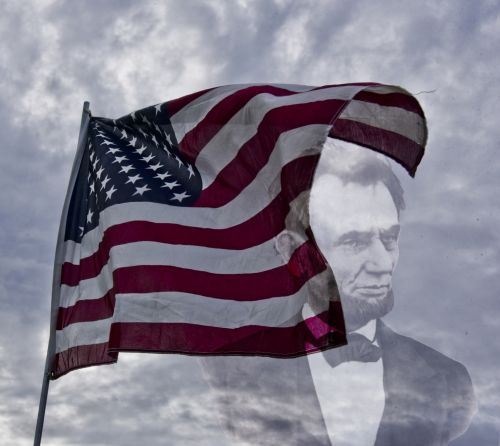 American Flag And Lincoln