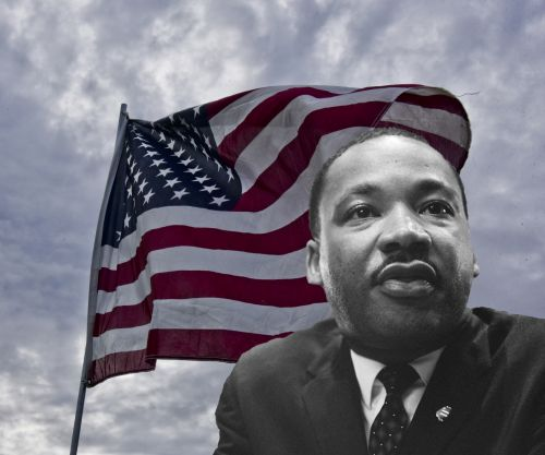 American Flag And Martin L. King