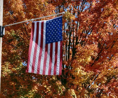 American Flag In Autumn