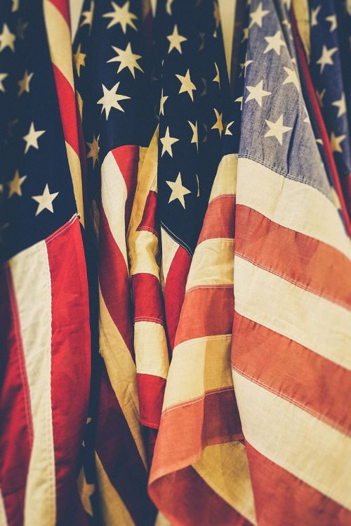 american flags close-up flags