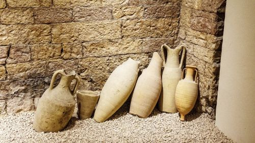 amphora, ąsočiai, zweihenkliges keramikos, enghalsiger stiklainis