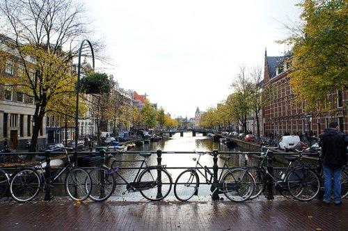 amsterdam bridge  bikes  amsterdam canal