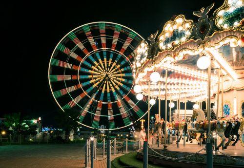 amusement park blurred motion carnival