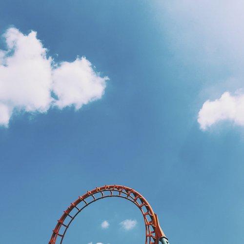 amusement park  blue  blue sky