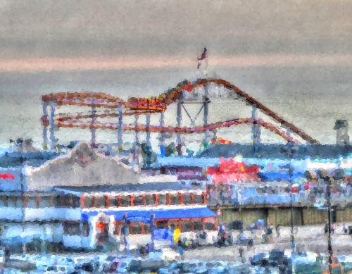 dusk, pramogų & nbsp, parkas, parkas, Ferris & nbsp, ratas, volas & nbsp, kalneliai, papludimys, prieplauka, santa & nbsp, monica, Kalifornija, meno, dažytos, Impresionistas, Impressionistinis, žibintai, linksma, maršrutas & nbsp, 66, saulėlydis, važiuoti, važiuoja, šviesus, faire, pramogų parkas