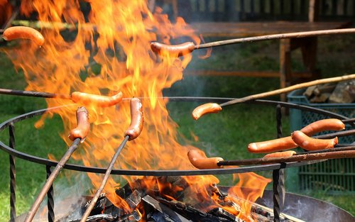 an outbreak of  sausages  burning
