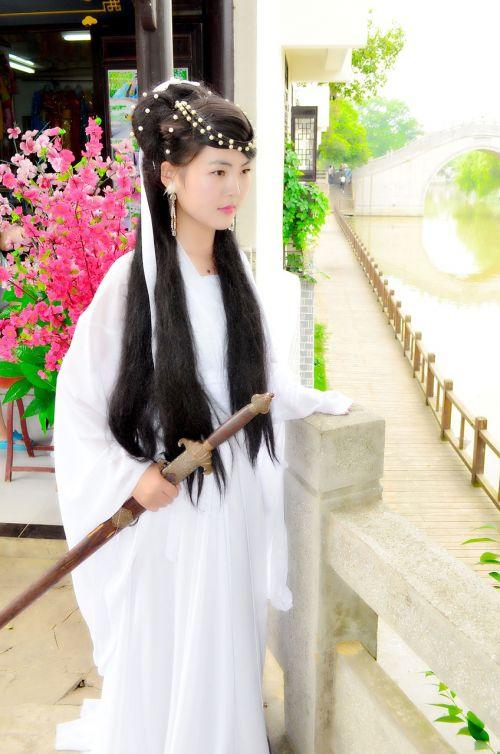 ancient costume zen sword