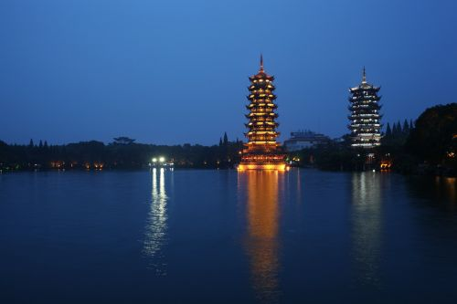 ancient tower stupa lake